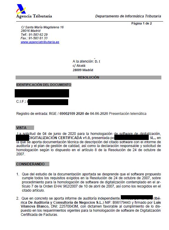homologación de digitalización certificada de facturas